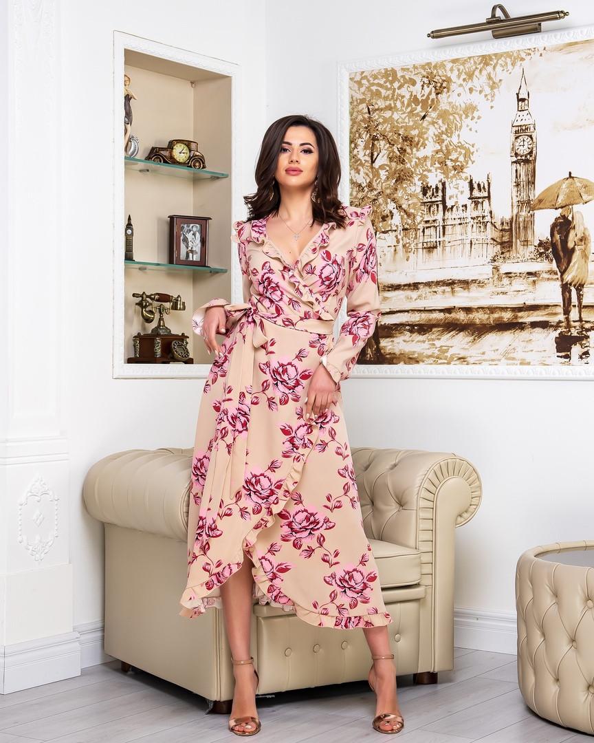 Платье женское длинное на запах с длинным рукавом с цветочным принтом (К28183)