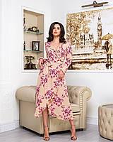Платье женское длинное на запах с длинным рукавом с цветочным принтом (К28183), фото 1