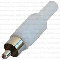 Штекер RCA  под шнур, корпус пластик, белый, 1уп-100шт