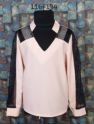 Блузка со вставкой сетки  116-134 персик+черный, фото 2