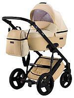Универсальная детская коляска Bair Leo ткань-кожа GN-101 бело-бежевый (ромб) - бежевая кожа, фото 1