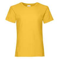 Футболка для девочки из 100% хлопка желтого цвета - 128 см, 140 см, 164 см, фото 1