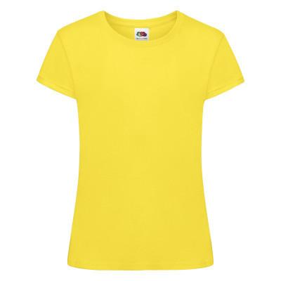 Ярко-желтая подростковая детская футболка для девочки под принт