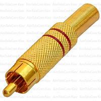 Штекер RCA, металлический, gold, с пружиной, Ø6.5мм, красный и черный, пара