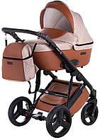 Универсальная детская коляска Bair Leo ткань-кожа GN-106 бело-коричневый (ромб) - коричневая кожа, фото 1