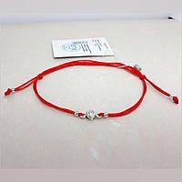 """Браслет-оберіг червона нитка, вставка """"Циркон"""", срібло 925, покриття родій, тибетський шнур - якість ТОП!!!"""