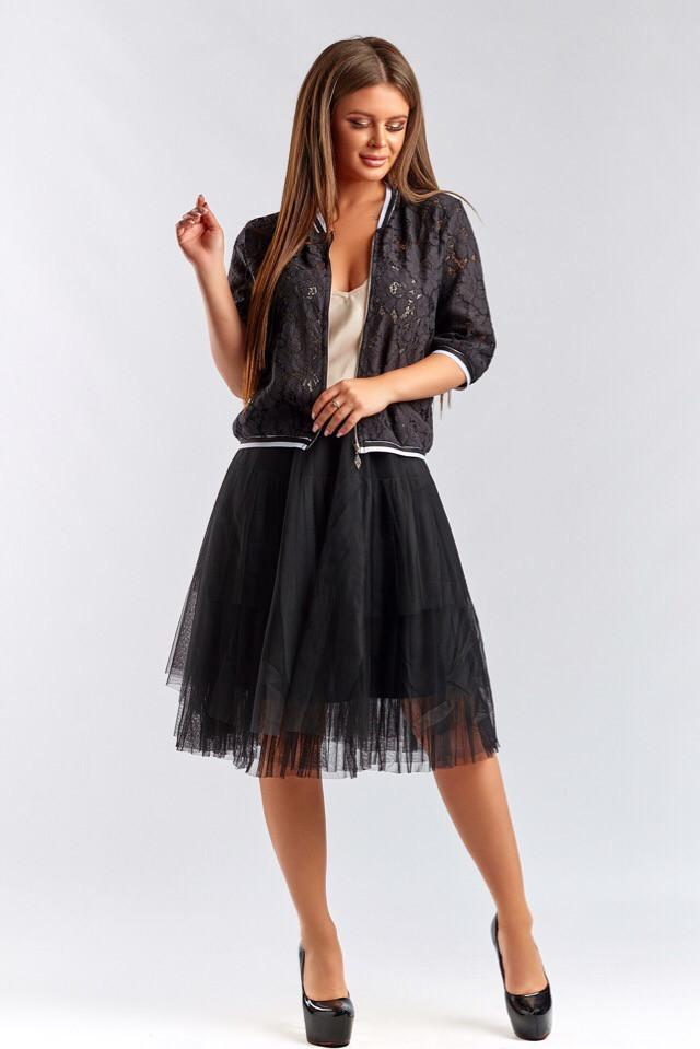 Костюм женский с гипюровой кофтой на молнии юбкой из сетки (К28185)