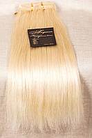 Натуральные волосы на заколках 50 см, 10 прядей, экстра светлый блондин