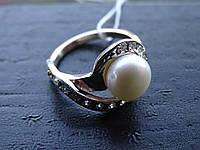 Кольцо серебряное с золотой вставкой и культивированным жемчугом, фото 1