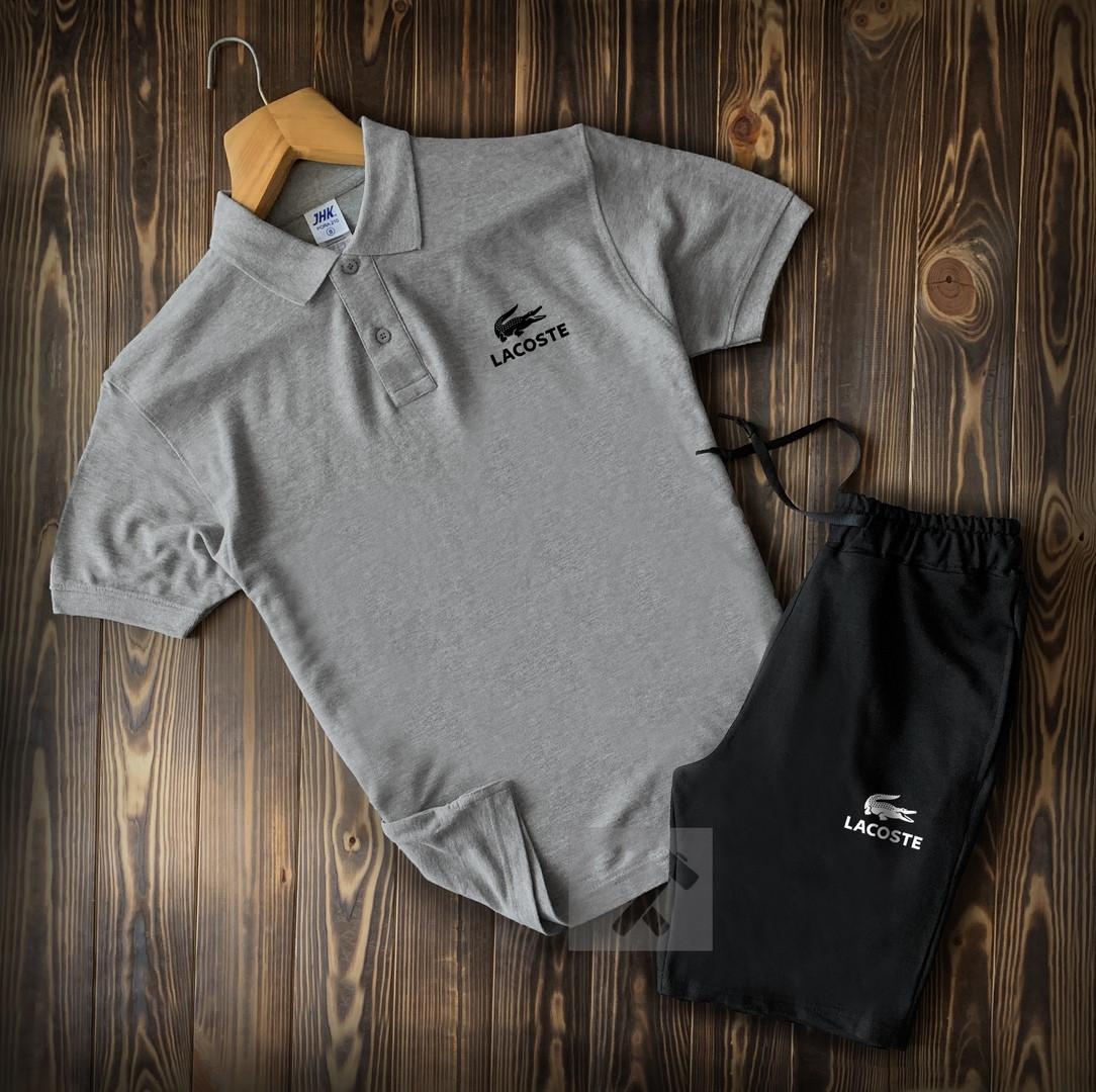 Мужской комплект поло + шорты Lacoste серого и черного цвета (люкс копия)