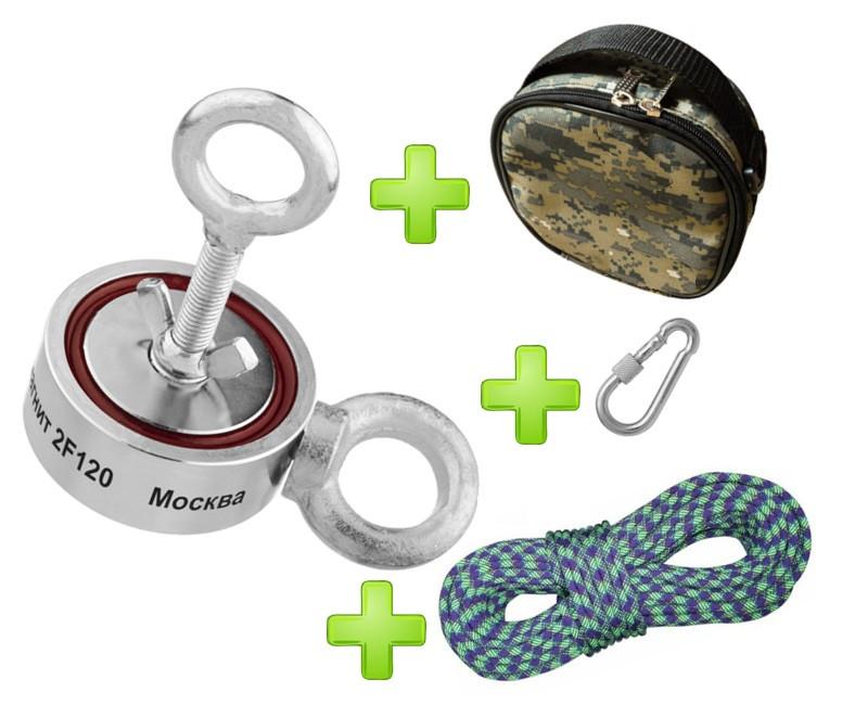 Туристический набор для НОВИЧКА кладоискателя-поисковый магнит НЕПРА 2F120+сумка+20м трос+карабин