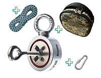 Набор кладоискателя для НАЧИНАЮЩИХ - поисковый магнит НЕПРА 2F200+сумка+20м трос+карабин