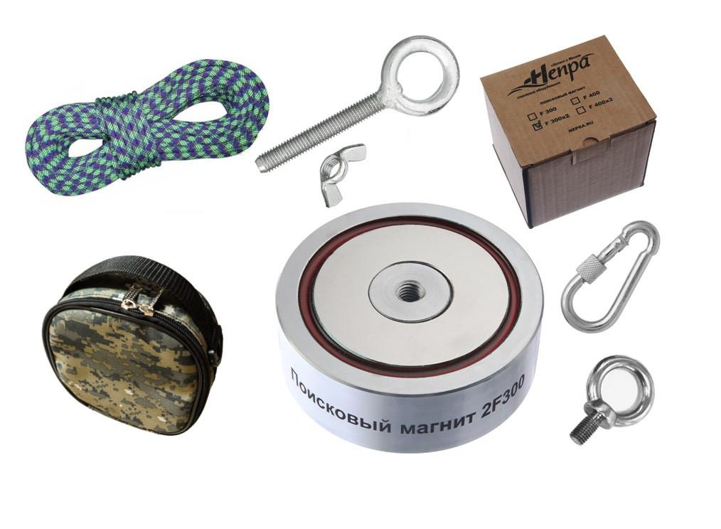 Туристический набор для полупрофи - поисковый магнит НЕПРА 2F300+сумка+20м трос+карабин