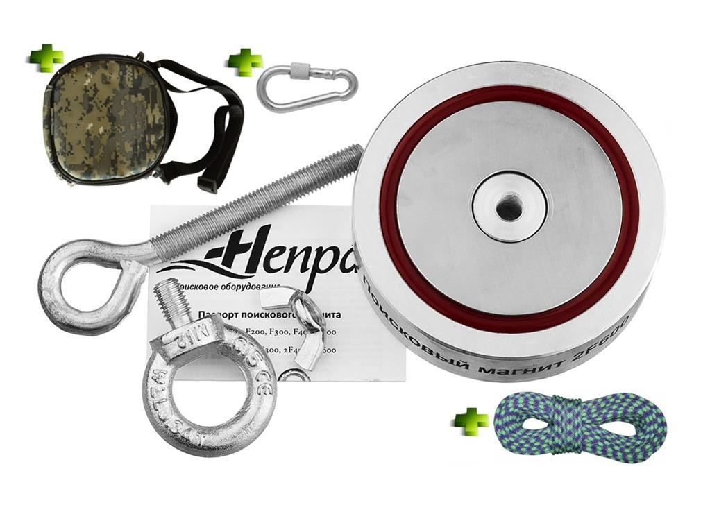 Набор ОПЫТНОГО КАМРАДА - поисковый магнит НЕПРА 2F600+сумка+20м трос+карабин
