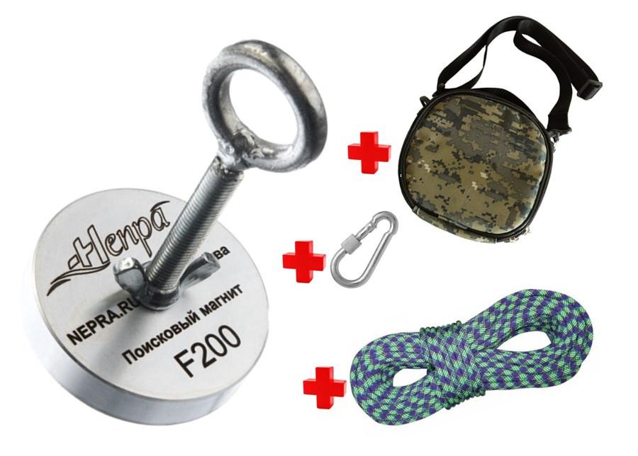 Туристический набор для НАЧИНАЮЩИХ кладоискателя-поисковый магнит НЕПРА F200+сумка+20м трос+карабин