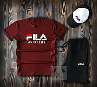 Мужской комплект футболка кепка и шорты Fila бордового и черного цвета (люкс копия)