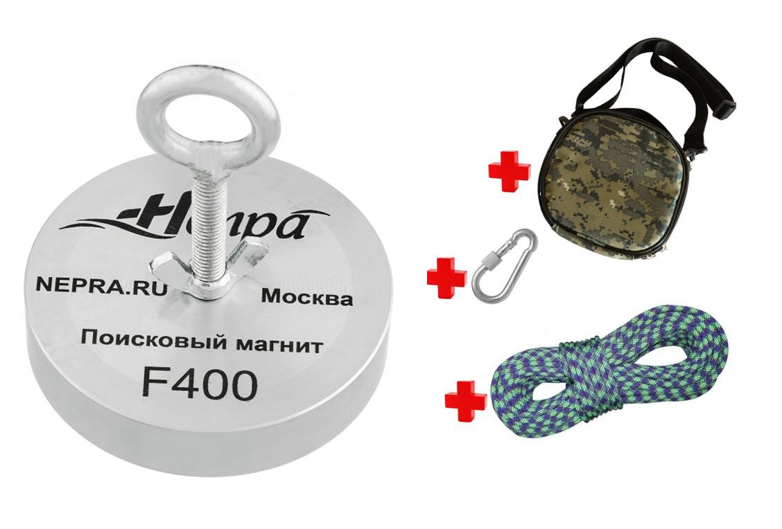 Профессиональный комплект кладоискателя -односторонний магнит НЕПРА F400+сумка+20м трос+карабин