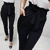 Женские брюки с высокой посадкой и рюшами на поясе, арт.168, цвет черный