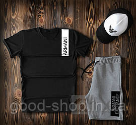 Мужской комплект футболка кепка и шорты Armani серого и черного цвета (люкс копия)