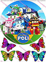 Вафельная картинка Робокар Поли А4