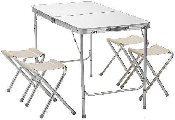 Стол для пикника Folding table +4 chairs белый NO.2