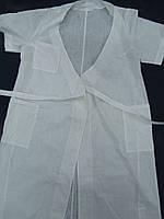 Халат белый с запахом без пуговиц для пищевого и молочного производства