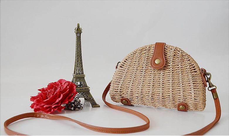 Женская маленькая соломенная сумка через плече коричневая, фото 2