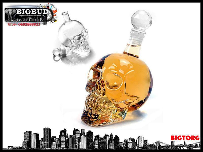Графін Crystal Skull (у формі черепа) великий, 0,55 л / Графин стеклянный в форме Черепа большой,  550 мл