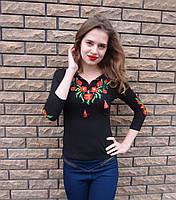 Вышитая женская футболка мак рукав 3/4, фото 1