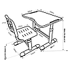 Комплект парта и стул-трансформеры FunDesk Sole II Pink, фото 2