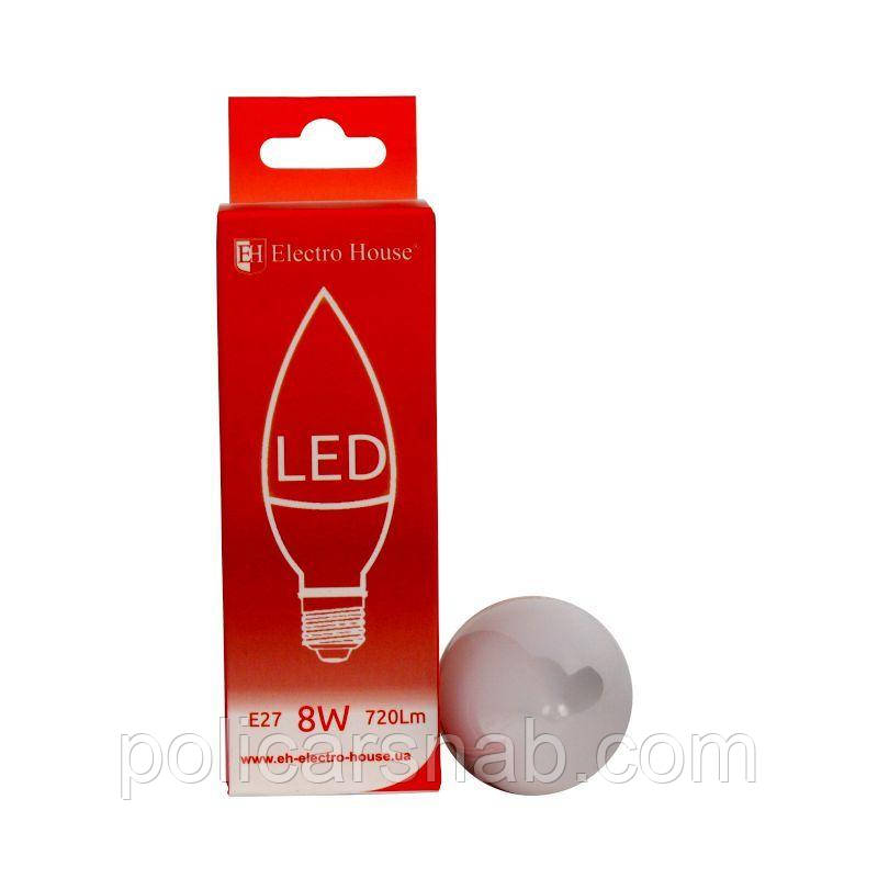"ElectroHouse LED лампа ""свеча"" Е27 8W"
