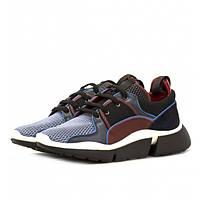 Женские кроссовки из натуральной кожи синего цвета, на плотной подошве - стильная и комфортная обувь