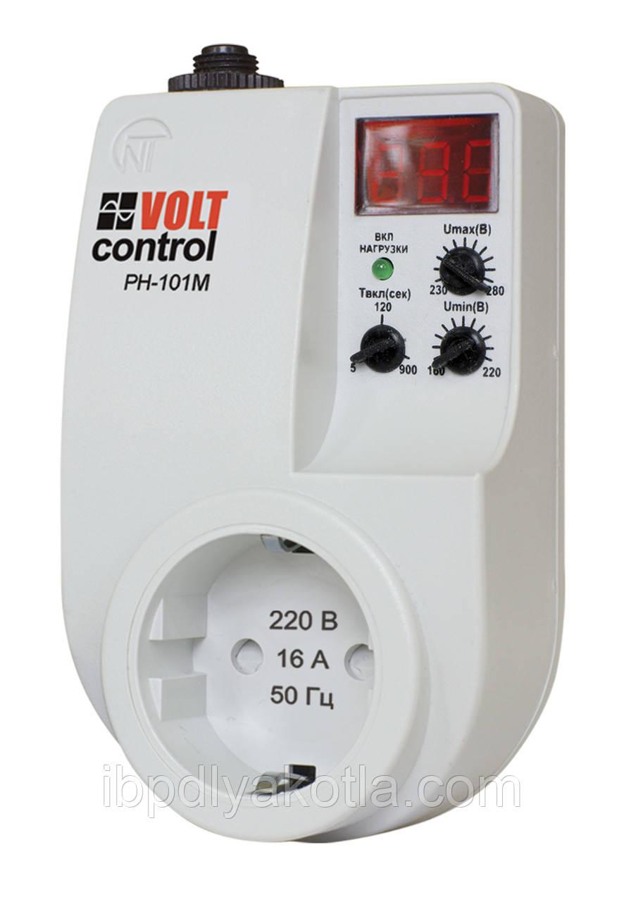 Новатек РН-101М реле напряжения,16А, 220В, в розетку, индикация напряжения, токовый автомат