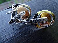 Серьги серебряные с золотыми вставками и куб.цирконием, фото 1