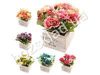 """Искусственные цветы в горшке """"Цветы в коробке"""" 15x15x17см"""