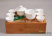 Набор дорожный (Чабань из бамбука + гайвань, 6 чашек, сито, чахай, щипцы), фото 1