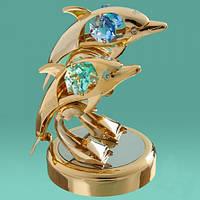 """Позолоченная фигурка с кристаллами Swarovski """"Два дельфина"""" символ любви и верности"""