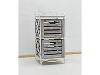 Кованая тумба (полка металлическая) 2 вертикальная белая коричнево-белый ящик