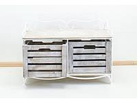 Кованая тумба (полка металлическая) 2 горизонтальная белая коричнево-белый ящик, фото 1