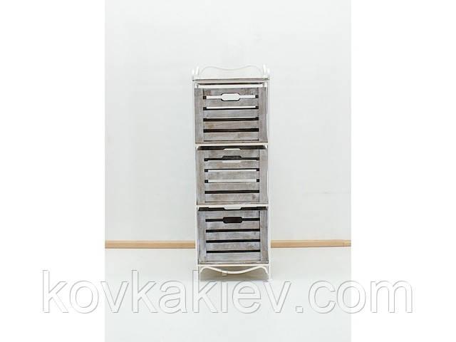 Кованая тумба (полка металлическая) 3 вертикальная белая - коричнево-белый ящик, фото 1