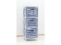 Кованая тумба (полка металлическая) 3 вертикальная белая - синий ящик
