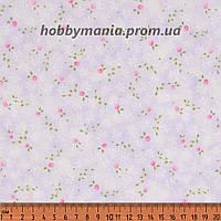 Бутоны, сиреневый, розовый. Пастельные оттенки. Сад воспоминаний. Хлопковая ткань. FLO-18