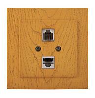 Розетка компьютерная - телефонная CAT5 x RJ11 Nilson Touran Дерево дуб