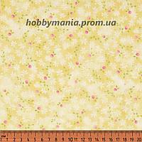 Бутоны, желтый, розовый. Пастельные оттенки. Сад воспоминаний. Хлопковая ткань. FLO-19, фото 1