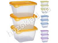 Набор емкостей для пищевых продуктов, цвета ассорти 1,2л (цена за набор 3шт)