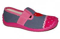 Детские мокасины для девочки с резинкой (Розово-серые, сердечко)
