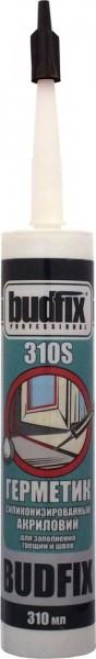 Герметик силиконизированный акриловый BUDFIX 310S для заполнения трещин и швов, 310 мл (упаковка 40 шт)