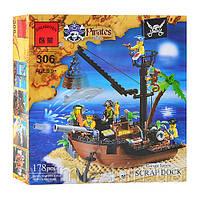 Конструктор BRICK 306/705561 пиратский корабль, 178 дет, в кор-ке, 28,5-28,5-6см