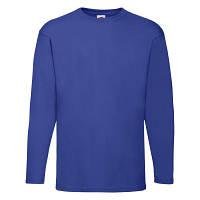 Однотонная мужская футболка с длинным рукавом под принт ярко-синяя