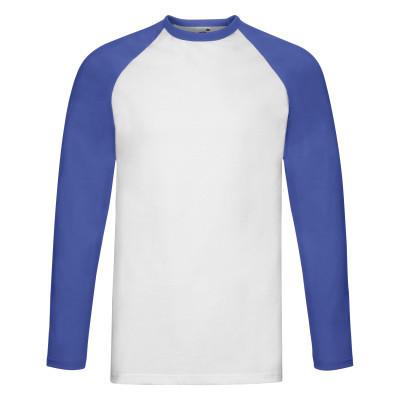 Стильная мужская белая футболка с длинными ярко-синими рукавами - S, L, XL, 3XL